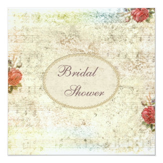 Vintage Pearls & Lace Shabby Chic Bridal Shower Card