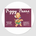 Vintage Pears Food Product Label Round Sticker