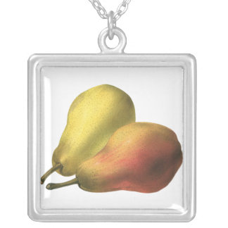 Vintage Pears, Organic Foods, Ripe Fruit Silver Plated Necklace
