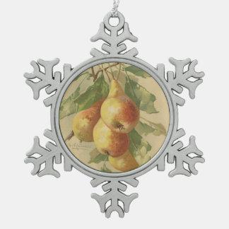 Vintage pears snowflake pewter christmas ornament