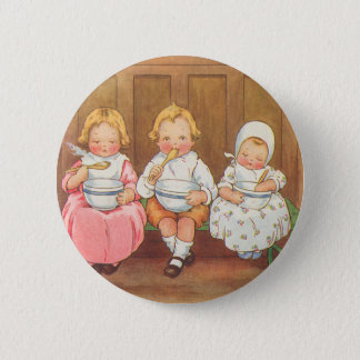 Vintage Pease Porridge Hot Childrens Nursery Rhyme Button