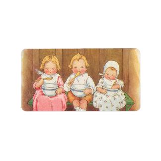 Vintage Pease Porridge Hot Childrens Nursery Rhyme Label