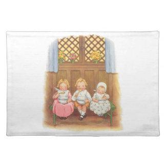 Vintage Pease Porridge Hot Childrens Nursery Rhyme Placemat