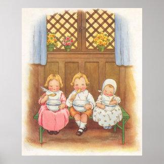 Vintage Pease Porridge Hot Childrens Nursery Rhyme Posters