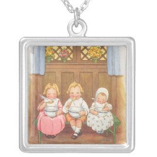 Vintage Pease Porridge Hot Childrens Nursery Rhyme Square Pendant Necklace