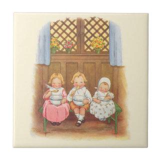 Vintage Pease Porridge Hot Childrens Nursery Rhyme Small Square Tile