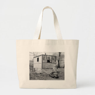 Vintage Pedal Car in the Great Depression, 1930s Large Tote Bag