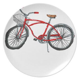 Vintage Pedal Power Bicycle Drawing Dinner Plate