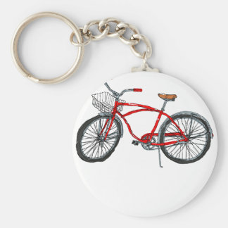 Vintage Pedal Power Bicycle Drawing Keychain