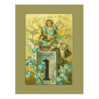 Vintage Pedestal Angel Postcard