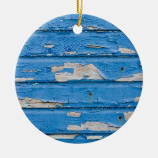 Vintage Peeling Blue Paint Ceramic Ornament