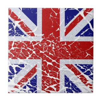 Vintage Peeling Paint Union Jack Flag Small Square Tile