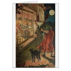 Vintage Peeping Witch Halloween Card at Zazzle