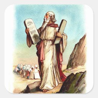 Vintage Pegatina-Moses y los diez mandamientos Pegatina Cuadrada