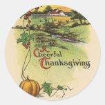 Vintage pegatinas alegres de una acción de gracias etiquetas redondas