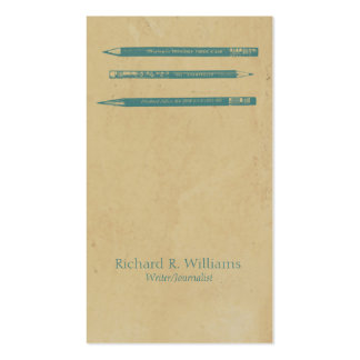Vintage Pencils Blue Double-Sided Standard Business Cards (Pack Of 100)