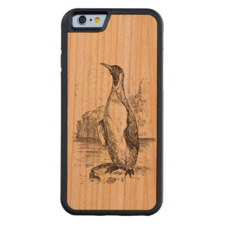 Vintage Penguin Arctic Birds Personalized Template Carved® Cherry iPhone 6 Bumper