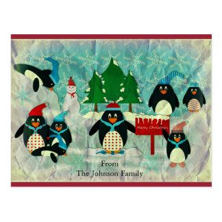Vintage Penguin Christmas Postcard