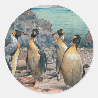 Vintage Penguin Herd Classic Round Sticker