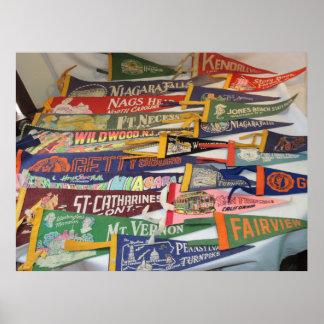 Vintage Pennants (Gettysburg, Niagra Falls, MORE) Poster