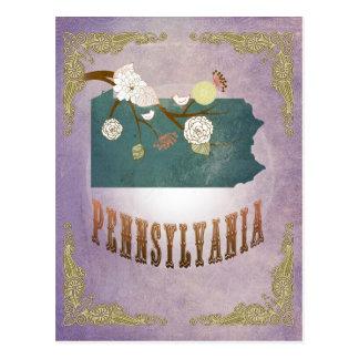 Vintage Pennsylvania State Map- Sweet Lavender Postcard