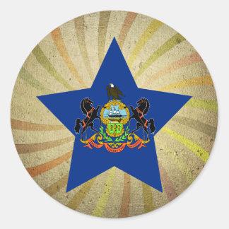 Vintage Pennsylvanian Flag Swirl Classic Round Sticker