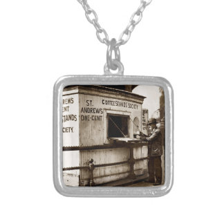 Vintage Penny Cup of Coffee Stand Silver Plated Necklace