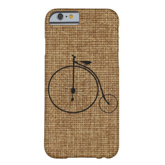 Vintage Penny-Farthing Bicycle On Faux Burlap Barely There iPhone 6 Case