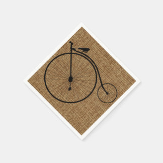Vintage Penny-Farthing Bicycle On Faux Burlap Standard Cocktail Napkin