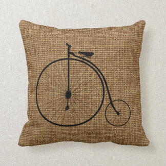 Vintage Penny-Farthing Bicycle On Faux Burlap Throw Pillow