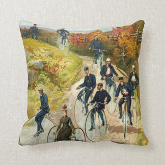 Vintage Penny Farthing Bicycle Riders Throw Pillows