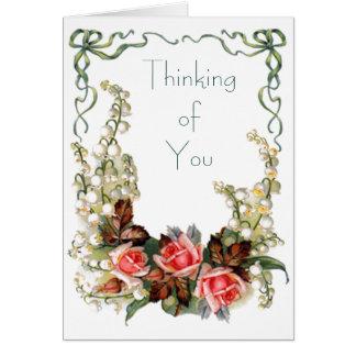 Vintage - pensando en usted tarjeta de felicitación