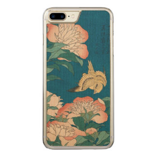 Vintage Peonies and Canary Hokusai GalleryHD Art Carved iPhone 8 Plus/7 Plus Case