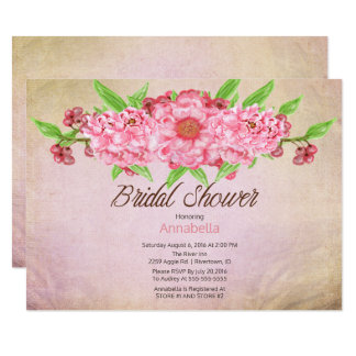Vintage Peonies Floral Bridal Shower Card
