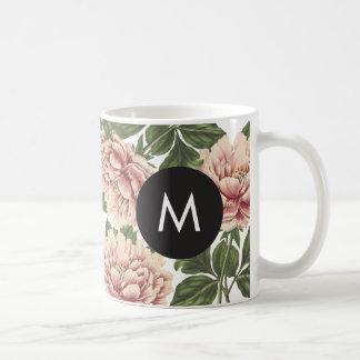 Vintage Peonies Monogram Coffee Mug