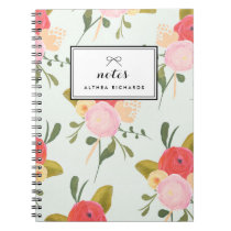 Vintage Peonies Pattern Personalized Notebook
