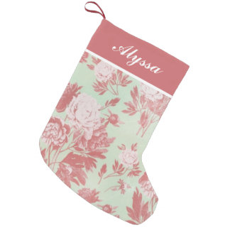 Vintage Peonies Personalized Stocking Small Christmas Stocking