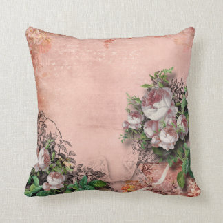 Vintage Peonies pink & white on rose pink Throw Pillow
