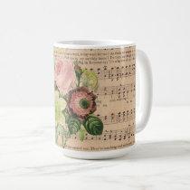 Vintage Peonies & Sheet Music Coffee Mug