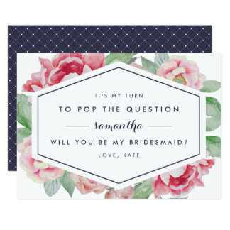 Vintage Peony Be My Bridesmaid Card