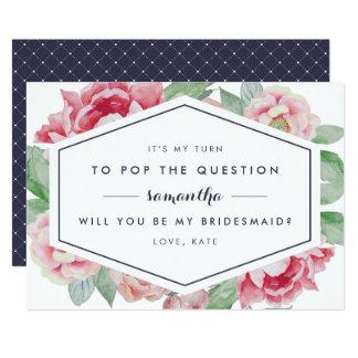 Vintage Peony Be My Bridesmaid Card