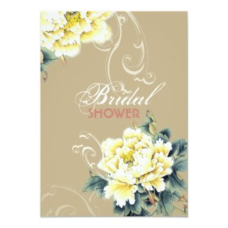 vintage peony floral chinese wedding bridal shower card