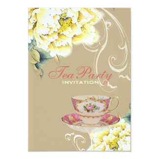 vintage peony floral chinese Wedding tea party Card