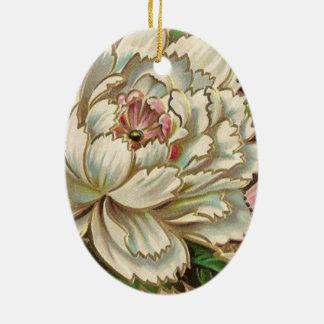 Vintage Peony Flower Ceramic Ornament