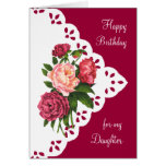 Vintage Peony Flower for Daughter Birthday Greeting Card
