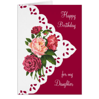 Vintage Peony Flower for Daughter Birthday Card