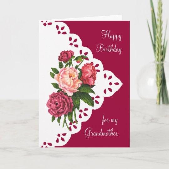 Vintage Peony Flower For Grandmother Birthday Card Zazzle