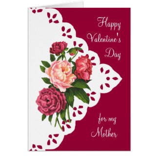 Vintage Peony Flower for Mom, Mother Valentine Card