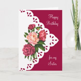 Vintage Peony Flower for Sister Birthday Card