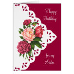 Vintage Peony Flower for Sister Birthday Greeting Card